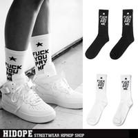 Cheap Hot 2014 Fuck You Pay Me Hiphop Casual Sport Men and Women Socks Mediam Long Cotton Free Shipping