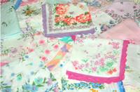 ladies handkerchiefs - Hot Sale NEW CUTTER LADIES grils VINTAGE COTTON HANKY FLORAL HANDKERCHIEF