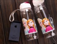 Wholesale 2 colors new FROZEN plastic water bottle Frozen Princess Slide Kid Children Water Bottle with Straw ml String