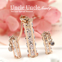 Wholesale 18K Rose Gold Plated High Quality AAA Zirconia Inside Real Me Style Pendant Jewelry Set Necklace Earrings
