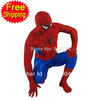 Wholesale mascot red Spiderman costume adult Halloween costumes for men superhero spandex Full bodysuit plus size custom