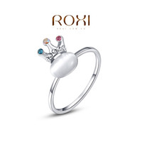 Cheap ROXI New Arrivals Platinum Plated Crown Opal Ring Statement Rings Fashion Jewelry Gift For Women Party Wedding Free Shipping