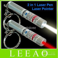 Wholesale Best Price New in White LED Light and Red Laser Pointer Pen Keychain Flashlight Free DHL FEDEX Shipping