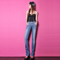 Wholesale Female Elastic Jeans Fold Acid Washes Decorated Women s Trousers New Pants WKN020