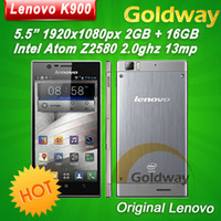 Cheap Original Lenovo K900 Intel Atom Phone Duel Core 5.5'' 1920x1080p Gorilla Glass Android 4.2 Russian Multi Language OTG Multi lang