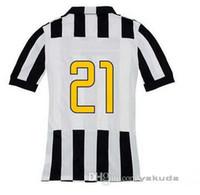 Wholesale 14 Juventus PIRLO Black White Strip Home Jerseys Tops Italy Club Juventus Pirlo Home Soccer Football Jersey