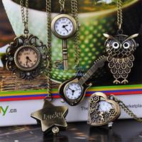 Wholesale 6 Styles Vine Style Cute Bronze Steampunk Quartz Necklace Pendant Chain Clock Pocket Watch A3