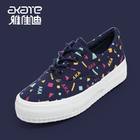 Wholesale Akai Di summer new Korean wave of thick crust muffin with mixed colors graffiti canvas shoes casual female student