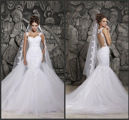 Wholesale Custom Made Beautiful Court Train Illusion Transparent Back Beaded Lace Mermaid Wedding Dresses Bridal Gowns d41 New Sexy Dress