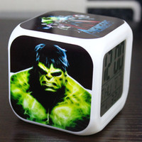 Wholesale Hot Avengers Alarm Clock LED Colorful Change Digital Alarm Thermometer Night Colorful Glowing Clock