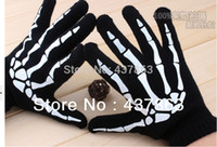 leather motorcycle apparel - skeleton gloves men Terror glove horror punk cosplay luva motorcycle racing black guantes Mittens Apparel Accessories brand best