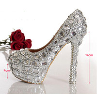Wholesale 2015 Fashion Woman Hot Selling Crystal Diamond Wedding Shoes High heeled Silver Bridal Shoes Sexy Closed Toe Nightclub Shoes
