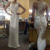 Wholesale Hot Sale Real Image Beach Wedding Dresses Beaded Pearls Rhinestone Bow Ruffles Jewel Neckline Sweep Train Mermaid Style Chiffon Bridal Gowns
