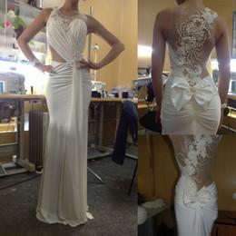 Hot Sale Real Image Beach Wedding Dresses Beaded Pearls Rhinestone Bow Ruffles Jewel Neckline Sweep Train Mermaid Style Chiffon Bridal Gowns