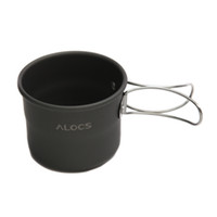aluminum oxide glass - 2014 ALOCS ml Aluminum Portable Folding Oxide Cup Foldable Handles for Outdoor Camping Cooking TW H11549