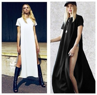white maxi dress - Celebrity Sexy Women Shirt Dress High Side Splits Maxi Long vestido Casual Tee T shirt Dress Party Clubwear White G0614