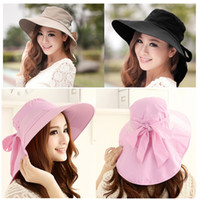 Wholesale Fashion Women chapeu feminino de sol Foldable Wide Brim sombreros sun visor hat Self tie Bow Summer Beach Floppy Cap Headwear H3141