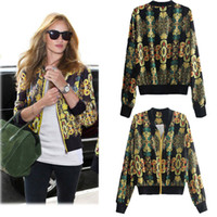 Wholesale 2014 Brand New Women Retro Jacket Floral Print Zipper casaco V Neck Long Sleeve Baseball Casual Outerwear Blouson Golden G0608