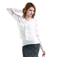 Cheap Crocheted Hollow-out Shrug Cardigan Tops Women White Breathable Thin Knitted Cape Long Sleeve Pleated Blouse TM095 M,L,XXL 2014 Fall Fashion