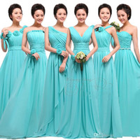 Wholesale Champagne Royal Blue Colors - cheap price long Chiffon Bridesmaid Dresses formal Party dress with Handmade Flowers Custom Made Colors Prom Gown