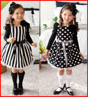baby skirt patterns - 2016 Autumn new stripe one piece dress Baby girls Polka dot pattern Skirt mixed color as White and Black with bowknot Belt Children s dress