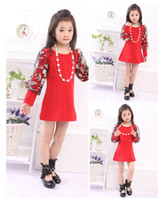Cheap New Korean Autumn Children's Clothing Girls Dress Cotton Long-sleeved Skirt Big Red Skirt Princess T-shirt M1148