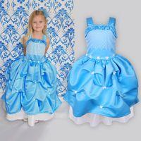 Girl Spring / Autumn Short Wholesale-2014 fashion Frozen Princess Fancy Dress Christmas gift girls party Lantern Dress Cute Flower Cosplay Costume free shipping