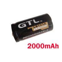 Wholesale Free DHL Black GTL CR123A LR123A mAh V Rechargeable Li ion Battery