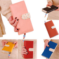 Wholesale S5Q Women s Long Purse Wallet Polka Dot Clutch High Quality Zip Bag Card Holder AAADCI