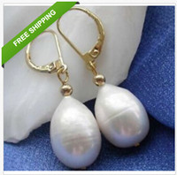 Wholesale sell beautiful MM AAA TAHITIAN WHITE PEARL EARRING K YG MARKED