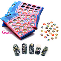 Cheap BeautyGaGa New Arrive High Level 5boxes 36designs Acrylic Top Fashion Images Round 3D Nail Art DIY Rhinestones & Decorations Free Shipping