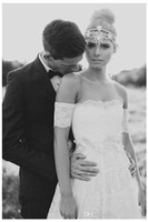 Cheap Breathtaking boho wedding dress, gorgeous ivory lace strapless with gypsy arm bands