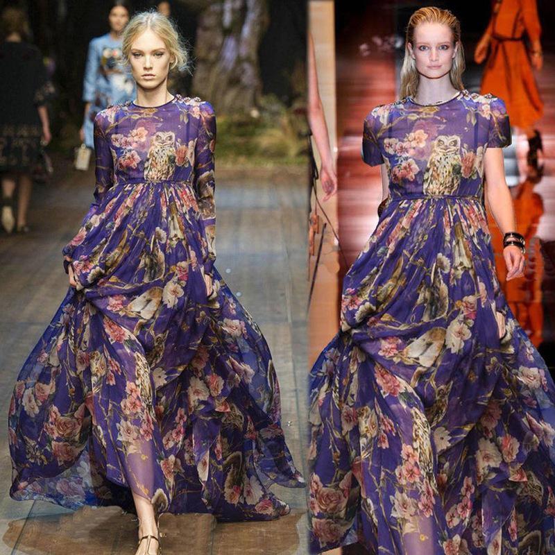 2017 New 2014 Maxi Dress Silk Flower Long Silk Dresses Women O ...