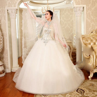 designer wedding dresses - Luxury High Collar Bridal Gowns Sheer Backless Chapel Train Actual Image Swarovski Rhinestone Sequins Sparkly Tulle Designer Wedding Dresses