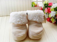 Wholesale Hot Sale Winter Prewalker Pure Cotton Striped Socks Infant Baby Fleece Thick Snow Boots Children Toddler Butterfly Shoes Beige M0894
