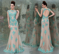 Cheap New Arrival Noble zuhair murad Sexy Applique Cap Sleeve Backless Mermaid Sequins Evening Dresses Gown Prom Dresses Formal Party Dresses