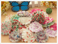 Wholesale Shabby Chic Flower Bow Wholesale - 100pcs baby accessories chiffon lace fold over flower shabby chic flowers hair satin flower for hair headband