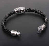 Wholesale Xmas Gift Fashion handmade mam punk Cross titanium steel bracelet punk serpentine woven leather bracelets