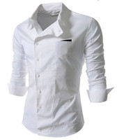Wholesale new men s year exclusive Hot Korean version of casual long sleeved shirt oblique buckle personalized tooling