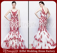 Wholesale 2014 Corset Red and White Wedding Dresses Mermaid Scoop Neck Lace Appliques Backless Ruched Bridal Gowns Tiered Skirt Sweep Train
