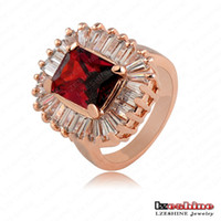 Cheap 5pcs\lot Unique Ring Genuine Rose Gold Plated Austrian Crystal Punk-Pop Engagement Rings Gangnam Style Jewelry