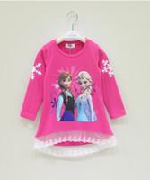 Wholesale Hot Spring Autumn Children Girls Frozen Elsa Anna Lace T Shirt Cotton Long Sleeve Kids Clothing Child Clothes Casul Kids Tees M0895
