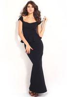 Cheap 2015 New Black Peplum Maxi Dress With Drop Shoulder High quality Long Dress Noble Evening Clothes B4722