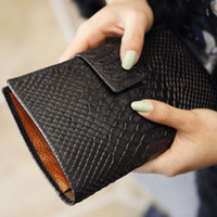 Wholesale 7 Colors Genuine Leather Real women s Crocodile pattern long section of the card wallet lady purse fashion Clutch Bag cow