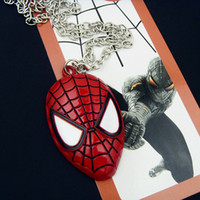 amazing faces - 2016 New Fashion Super Hero Spider man The Amazing Spiderman Mask Pendant Necklace Chain Necklace Accessories Necklace