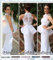 Cheap Glamorous 2014 Applique Peplum Prom Dresses Polyester Sheath High Neck With Covered Button Floor-Length Long White Evening Gowns