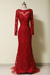 Real image Evening Dress Prom Dress Celebrity Dress 2014 exquisite Lace Applique Sequin Beaded Burgundy Long Sleeve Sweep Train Mermaid