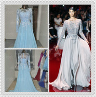 Cheap 2014 Distinctive Elie Saab Prom Dresses Appliqued And Beaded Decorated Bateau Sheer Long Sleeve A-Line Floor-Length Chiffon Evening Gown
