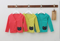 100% cotton jackets - Girls Coat Solid Cardigan Patchwork Cat Jacket Colors Cotton Top Quality LW1