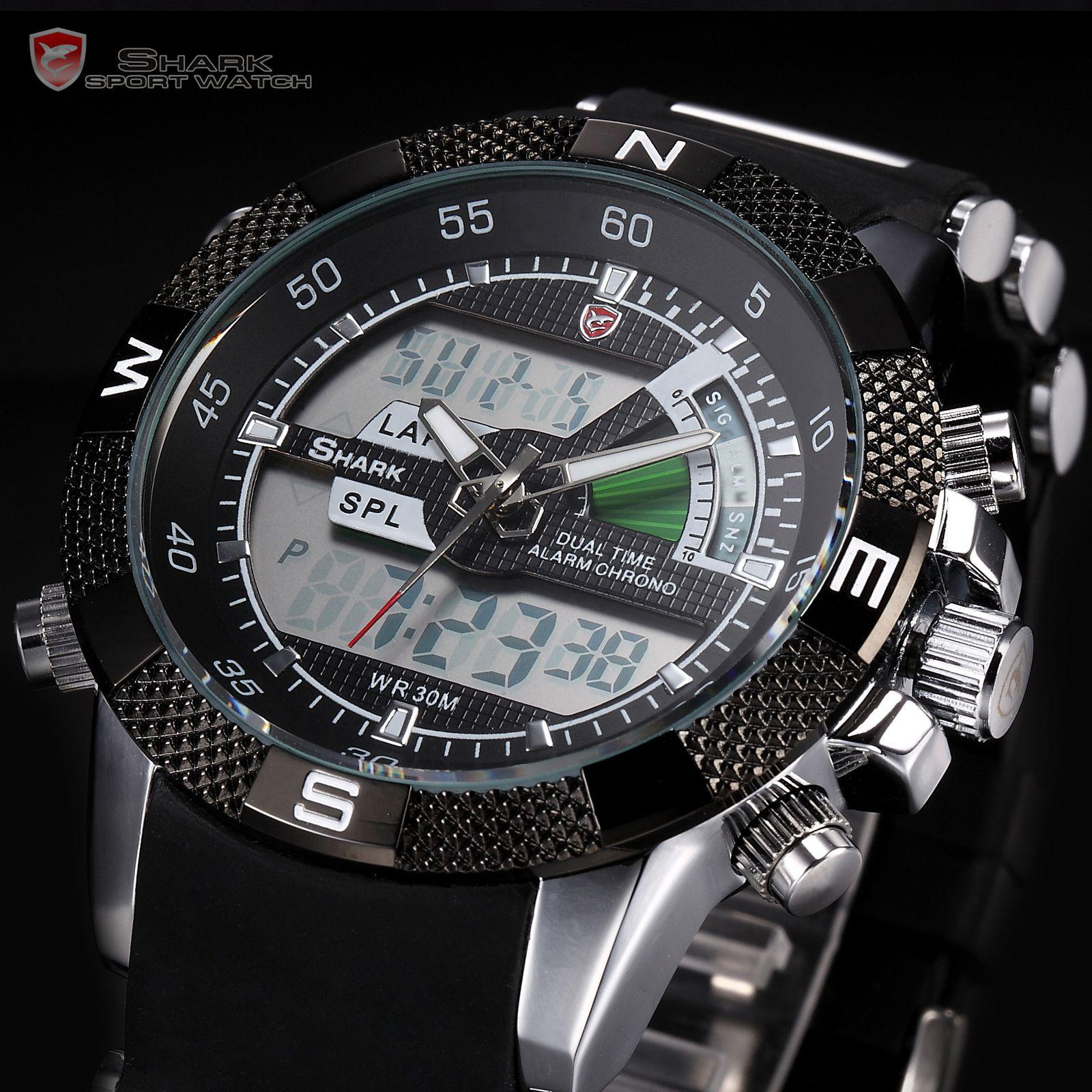 mens shark lcd digital analog dual time quartz sport